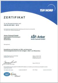 Производство и распространение стандартизированных и нестандартизированных соединительных элементов для монтажного оборудования, металлоконструкций и гидротехнических сооружений в соответствии с DIN EN ISO 9001: 2015 (с 1998 г. // TÜV Север)