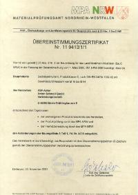 Kennzeichnungslegitimation (Ü) Übereinstimmungsverordnung (Bauregelliste) für ASF-Verbindungselemente seit 2001